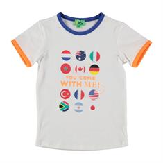 Funky xs boy Os flag tee Wit