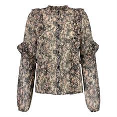 Nikkie Animal ruffle blouse 9000 Zwart